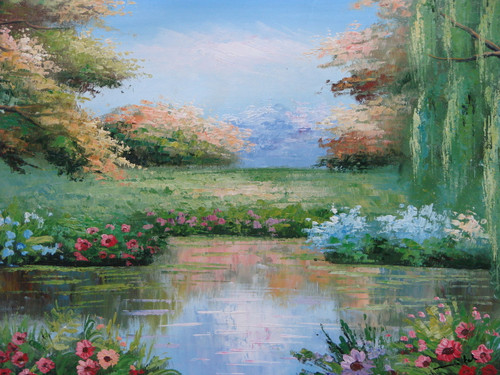 Beautiful painting on canvas, stretched but without frame, signed by Mitch.  A small pond is surrounded by a green weeping willow tree, and bushes with pink, blue and yellow flowers.