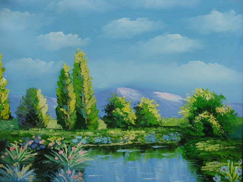 Beautiful small painting on canvas, stretched but without frame, signed by Mitch.  A blue pond reflects the bright green grass and trees on the banks, under a clear blue sky.