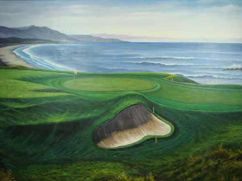 Beautiful large painting on canvas, stretched but without frame, signed by Benton.  Ocean waves meet a rolling green golf course with large sand trap.