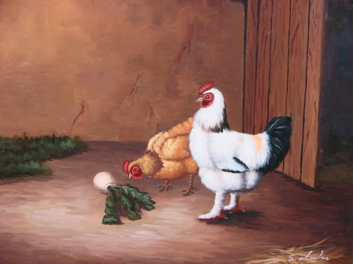 Beautiful painting, stretched but without frame, by S. Charles.  A white rooster and auburn feathered hen peck at the ground outside a barn.