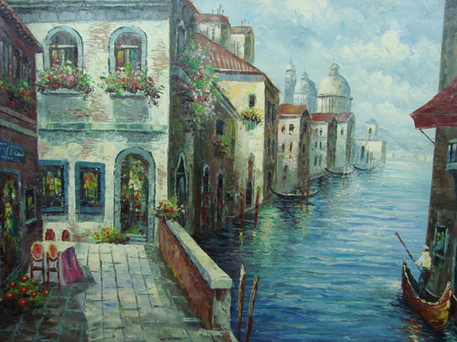 Beautiful large painting, stretched but without frame, by Scott.  A man navigates a gondola through a blue canal past brick buildings and an outdoor cafe.
