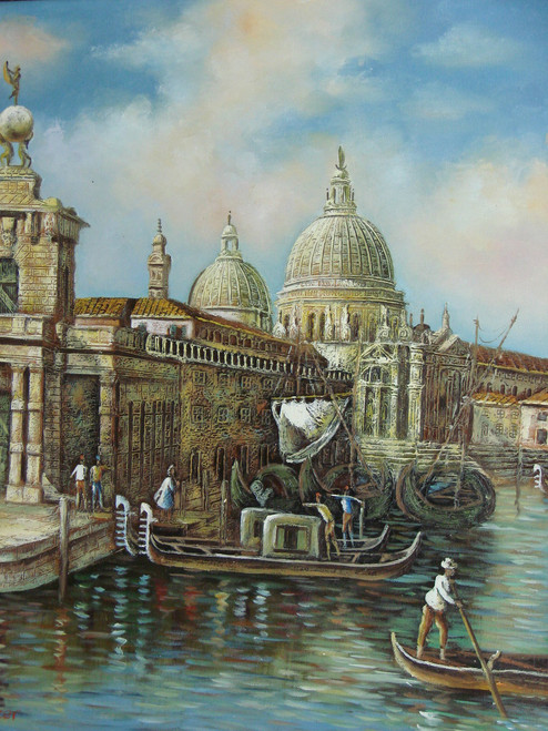 Beautiful medium sized painting, stretched but without frame, by Jaster.  Large sailboats are docked next to gondolas in a canal surrounded by ancient buildings.