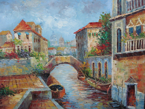 Beautiful medium sized painting, stretched but without frame, by Jaster.  A small bridge connects two sides of a canal with flowering bushes growing between buildings on each side of the canal.