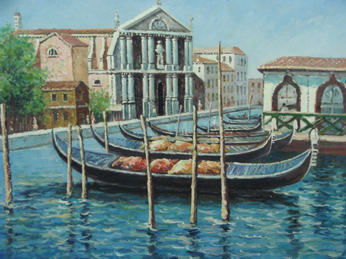 Beautiful medium sized painting, stretched but without frame, by Berneads.  Dark colored gondolas are docked in wavy blue water near a historic town.