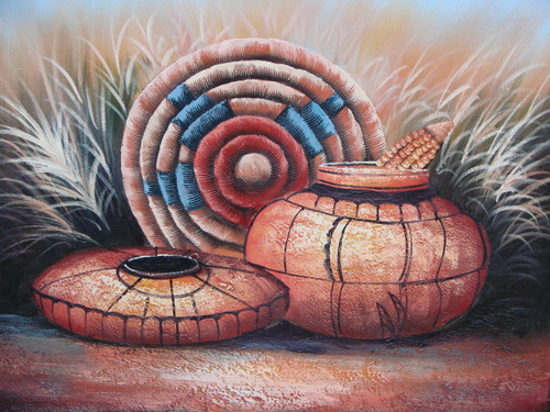 Beautiful medium sized painting, stretched but without frame, by San.  Clay Native American pots are detailed in black and sit in a wheat field with a woven piece of art accented in blue and red.
