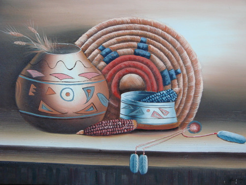 Beautiful medium sized painting, stretched but without frame, by Betty.  Native American pots, holding wheat and corn, and woven art are accented by blues and reds.