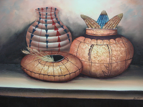 Beautiful medium sized painting, stretched but without frame, by Betty.  Native American clay pots are detailed in black, red, and blue.