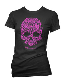 A Skull Named Sugar Pink Ink - Tee Shirt Aesop Originals Clothing (Black)