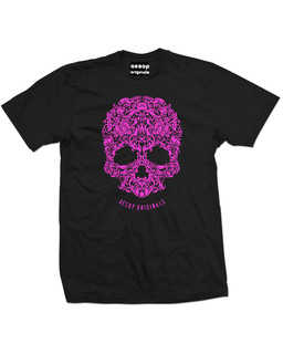 A Skull Named Sugar Pink Ink - Mens Tee Shirt Aesop Originals Clothing (Black)