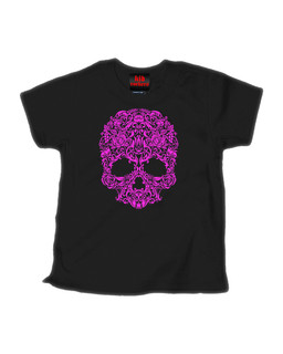 A Skull Named Sugar Pink Ink - Kid Rockers Children's Tee Shirt Clothing (Black)
