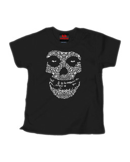 Crimson Sugar Skull - Kid Rockers Children's Tee Shirt Clothing (Black)