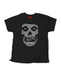Crimson Sugar Skull - Kid Rockers Children's Tee Shirt Clothing (Black)