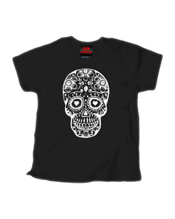 Day Of The Dead Sugar Skull - Kid Rockers Children's Tee Shirt Clothing (Black)
