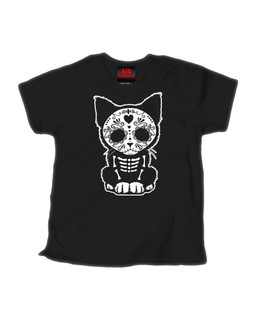 Day Of The Dead Sugar Skull Kitten Cat - Kid Rockers Children's Tee Shirt Clothing (Black)