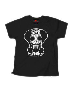 Day Of The Dead Sugar Skull Puppy Dog - Kid Rockers Children's Tee Shirt Clothing (Black)