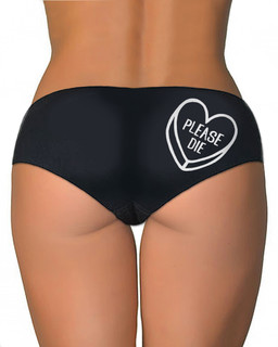 Please Die Sweetheart - Booty Shorts Underwear Aesop Originals Clothing (Black)