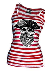 Ye Olde Salty Dog Pirate Captain Red and White Striped Tank Top - Tank Top Aesop Originals Clothing (Red / White)