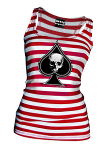Thee Ace Of Spades Red and White Striped Tank Top - Tank Top Aesop Originals Clothing (Red - White)