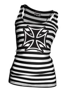 Thee Iron Cross Black and White Striped Tank Top - Tank Top Aesop Originals Clothing (Black - White)