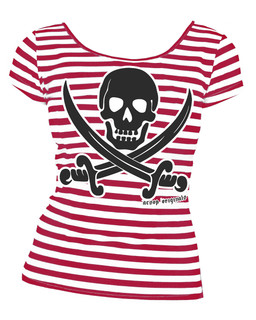 Striped Jolly Roger  - Tee Shirt Aesop Originals Clothing (Red/White)