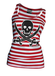 Striped Jolly Roger - Tank Top Aesop Originals Clothing (Red/White)