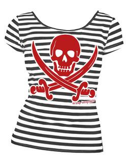 Striped Jolly Roger  - Tee Shirt Aesop Originals Clothing (Black/White)