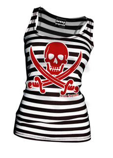 Striped Jolly Roger - Tank Top Aesop Originals Clothing (Black/White)