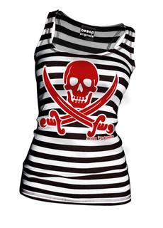 Striped Jolly Roger - Tank Top Aesop Originals Clothing (Black/White)
