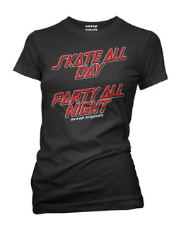 Skate All Day Party All Night - Tee Shirt Aesop Originals Clothing (Black)