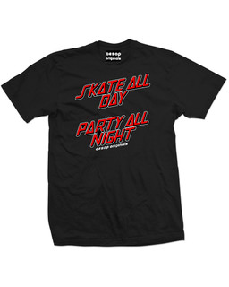 Skate All Day Party All Night - Mens Tee Shirt Aesop Originals Clothing (Black)