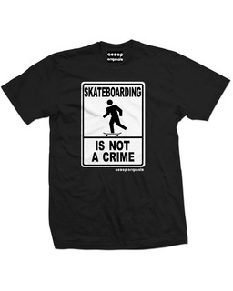 Skateboarding Is Not A Crime - Mens Tee Shirt Aesop Originals Clothing (Black)