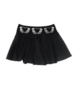 A Crimson Heart - Skater Skirt Aesop Originals Clothing (Black)