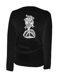 Aries - Retro Zodiac Pinup Tattoo - Cardigan Aesop Originals Clothing (Black)