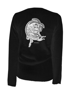 Aquarius - Retro Zodiac Pinup Tattoo - Cardigan Aesop Originals Clothing (Black)