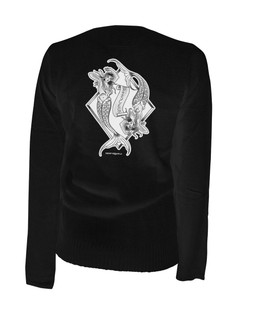 Pisces - Retro Zodiac Pinup Tattoo - Cardigan Aesop Originals Clothing (Black)
