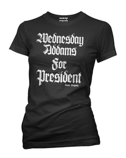Wednesday Addams For President - Tee Shirt Aesop Originals Clothing (Black)