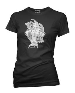 Pisces - Retro Zodiac Pinup Tattoo - Tee Shirt Aesop Originals Clothing (Black)