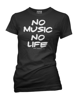 No Music No Life - Tee Shirt Aesop Originals Clothing (Black)