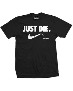 Just Die. Please, Just Do It. - Mens Tee Shirt Aesop Originals Clothing (Black)