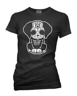 Day Of The Dead Sugar Skull Puppy Dog - Tee Shirt Aesop Originals Clothing (Black)