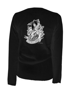Capricorn - Retro Zodiac Pinup Tattoo - Cardigan Aesop Originals Clothing (Black)