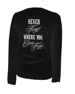 Never Forget Where You Come From - Cardigan Aesop Originals Clothing (Black)
