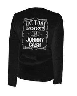 Tattoos Booze And Johnny Cash - Cardigan Aesop Originals Clothing (Black)