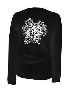 La Rosa Day Of The Dead Skull - Cardigan Aesop Originals Clothing (Black)