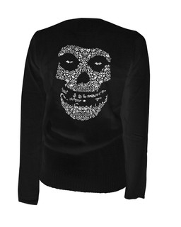 Crimson Sugar Skull - Cardigan Aesop Originals Clothing (Black)