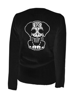 Day Of The Dead Sugar Skull Puppy Dog - Cardigan Aesop Originals Clothing (Black)