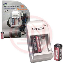 Hitech Rechargeable CR123A Li-on Batteries and Charger Set