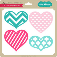 4 Hearts with Pattern