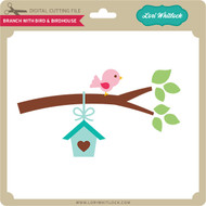 Branch with Bird & Birdhouse