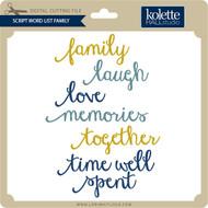 Script Word List Family